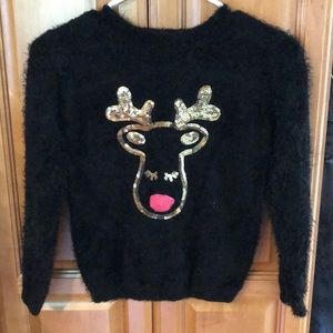 ☀️ Girls sequenced fuzzy Christmas sweater